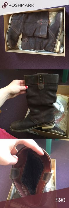 Clarks leather boots Lovely leather knee high boots by Clarks. In original box! The inside is lined with a comfy flannel. Worn less than 5 times, like new. Ask any questions! Will ship in original box! Size 9.5 but fits like a 10! Clarks Shoes Winter & Rain Boots