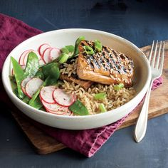Glazed Salmon and Rice Bowl | MyRecipes.com A soy sauce, honey, and vinegar mixture doubles as a marinade for the salmon and a drizzle over the finished dish.