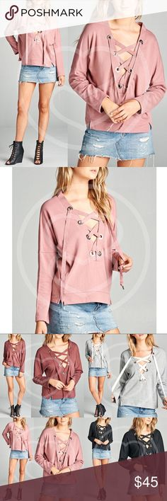 RYLIE Long Sleeve Top - D. PINK 65% polyester, 35% rayon.  AVAILABLE IN BRICK, H. GREY, DUSTY PINK & BLACK.  NO TRADE  PRICE FIRM Bellanblue Tops Tees - Long Sleeve