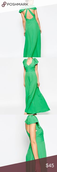 Spring maxi dress - beautiful green Lighter green maxi dress, sold out online, brand new - never worn! Stunning dress for any occasion in the spring/summer! ASOS Dresses Maxi