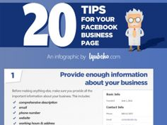 20 Tips for Facebook Business Page. Some obvious but some good little nuggets on here. #socialmedia #marketing