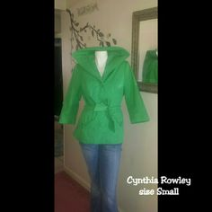 Lovely in Cynthia Rowley darlings. Gorgeous 3/4 quarter sleeve green jacket. Great condition. Length 27 inches. Sleeves 18 inches. Functional pockets. Make an offer loves.size chart in last photo. Cynthia Rowley Jackets & Coats