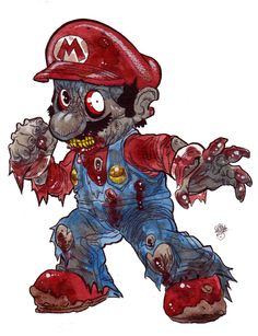 Zombie Art : Zombie Mario from Donkey Kong! - Zombie Art by Rob Sacchett Zombie Kunst, Art Zombie, Zombie Cartoon, Dope Cartoon Art, Dope Cartoons, Cartoon Kunst, Zombie Disney, Disney Horror, Creepy Drawings