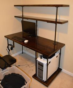 Chris' Industrial Computer Desk : Shelves Steampunk Pipe Modern Upcycle Repurpose Shelving System: