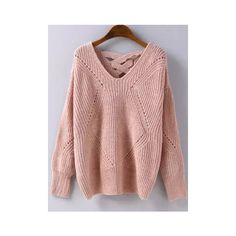 Pink Geometric Pattern Hollow Knit Sweater ($18) ❤ liked on Polyvore featuring tops, sweaters, pink, loose-knit sweater, pink pullover sweater, pink v neck sweater, loose sweater and pink sweater