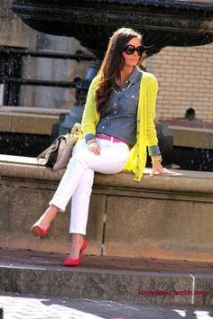 yellow cardigan chambray shirt white pants, pink belt pink shoes