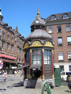 Historical phone booth, currently a bar, Nytorv, Copenhagen, Denmark