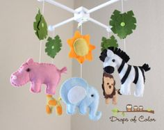 "Baby Crib Mobile - Baby Mobile - Nursery Jungle Crib Mobile ""Safari Playland"" Mobile - Crib Mobile - Elephant, Lion, Giraffe, Zebra, Hippo"