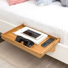 BedShelfie - Modern Bamboo Bedside Shelf / Space-Saving, Floating Nightstand (in Natural Bamboo) - A Space-Saving, Minimalist Nightstand handcrafted in eco-friendly bamboo. SAVES SPACE Small Space S - Minimalist Nightstand, Minimalist Dorm, Interior Design Minimalist, Minimalist Apartment, Minimalist Kitchen, Minimalist Furniture, Modern Minimalist, Bedside Shelf, Bed Shelves