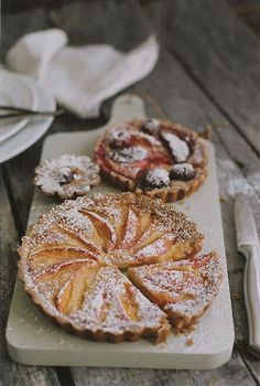 Stone Fruit Tart (bake filling and fruit at the same time) - FILLING 1/2 cup heavy cream, 1 egg, 1/2/tsp almond extract, 1/2 tsp vanilla, 2 tbsp honey, 2 tbsp almond flour, FRUIT 1 1/2 lbs stone fruit of choice  Prepare and bake pastry crust. In bowl, whisk cream, egg, extracts, honey until well combined, add flour. Arrange fruit in crust, pour filling (not covering fruit), bake. Remove from oven and sprinkle with powdered sugar.