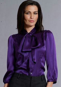 3013f0820deb8 Purple satin blouse with bow