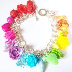 Kawaii Rainbow Roses Charm Bracelet  Kitsch by cwocwodesigns,
