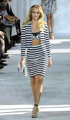 Sensational in stripes: Candice Swanepoel looked gorgeous as ever as she hit the Diane von...