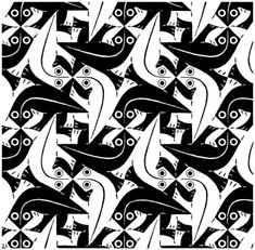 Escher: Tessellations i love how you have to look closer to see what the shapes are. Mc Escher Tessellations, Tessellation Art, Mc Escher Art, Escher Kunst, Geometric Shapes Art, Famous Art Pieces, Tesselations, High School Art, Common Core Math