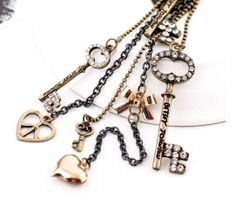 Betsey Johnson Retro-style key Multi-pendant necklace with free pair earrings!