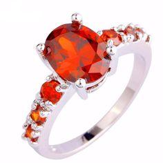 8835cd614662 Fashion Jewelry Oval Cut Healing Crystal Quartz Stones 925 Sterling Silver  Ring. Anillos De PlataRojo GranateModa ...