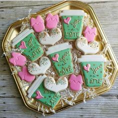 These cookies sum up how I feel about so many things! you know, the important stuff! Thanks for sharing your… Cupcakes, Cookies Cupcake, Valentine's Day Sugar Cookies, Sugar Cookie Royal Icing, Fancy Cookies, Cute Cookies, Coffee Cookies, Iced Cookies, Sweets