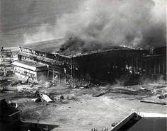 The MAG-21 hanger at Marine Corps Air Station Ewa ablaze ...
