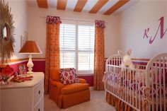 hot pink and orange bedroom