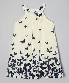 Another great find on #zulily! White & Navy Butterfly Yoke Dress - Toddler & Girls #zulilyfinds