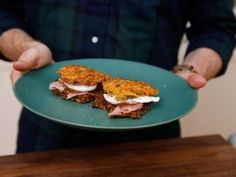 Sweet Potato-Green Onion Pancakes with Poached Eggs, Holiday Ham and Pepper Jam Recipe | Bobby Flay | Food Network