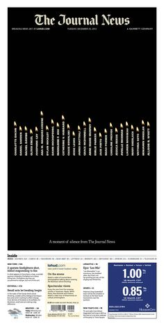 26 candles for Newtown on a black page one from Westchester's Journal News