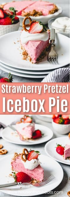 You will want to make this crowd-pleasing Strawberry Pretzel Icebox Pie all Spring and Summer long! It's a delicious frozen dessert made with a strawberry cream cheese filling inside a salty-sweet pretzel crust. Then the fluffy pink pie is topped with cl Strawberry Pretzel Pie, Strawberry Cream Cheese Filling, Strawberry Desserts, Strawberries And Cream, Pretzel Desserts, Köstliche Desserts, Frozen Desserts, Delicious Desserts, Frozen Fruit