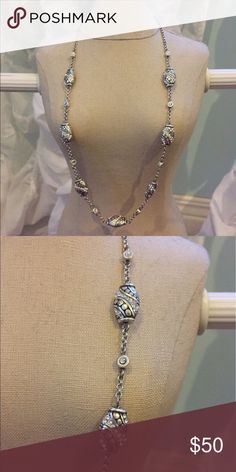 Brighton Silver Neclace Brighton silver necklace is beautiful with sparkling bling on the designs. Matching bracelet listed separately. Jewelry Necklaces