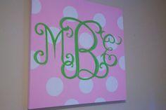 30x30 Monogrammed canvas. $160.00, via Etsy.