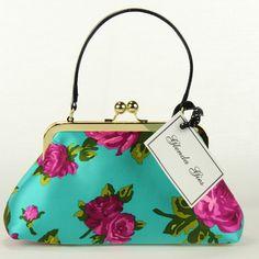 Glenda Gies Zoe Hot  Pink  Roses on Turquoise Silk Designer Handbag