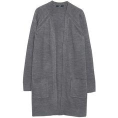 Mango Side Pocket Cardigan , Medium Grey (1.390 RUB) ❤ liked on Polyvore featuring tops, cardigans, medium grey, lightweight cardigan, layering cardigans, grey open front cardigan, long sleeve tops and lightweight open front cardigan
