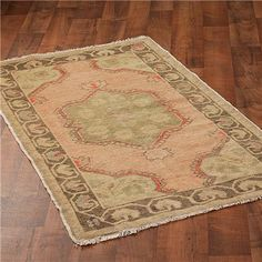 Rose, taupe, and celadon antique Oushak rug, Shades of Light