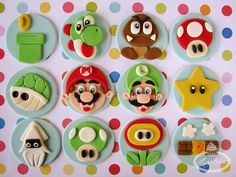 Cupcakes with Super Mario Bros Fondant Toppers