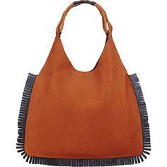 Marni Women's Fringe Flat Hobo (4,495 MYR) ❤ liked on Polyvore featuring bags, handbags, shoulder bags, no color, woven leather handbags, brown fringe handbag, fringe purse, marni handbags and brown hobo shoulder bag