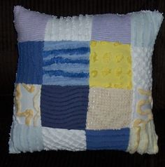 """12""""x12"""" Chenille Patch Pillow made with Vintage Chenille Bedspread Squares by brendasbitsnpieces on Etsy"""