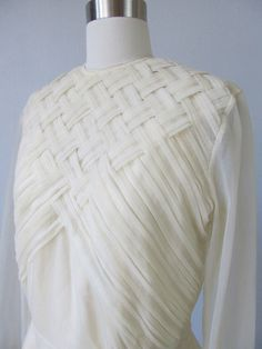 Woven Tucks - sheer white blouse with textured weave detail - structural fabric manipulation for fashion; creative sewing techniques