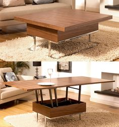 A small square compact walnut veneer coffee table that when needed easily converts into a dining table big enough to seat six to eight. The perfect piece of furniture to have if space is at a premium.