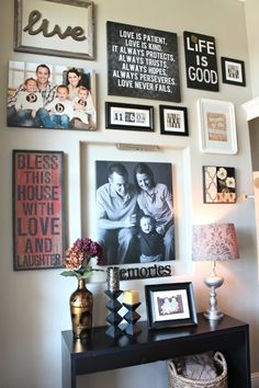 I LOVE this!  How to Decorate Your Front Entryway | I like the mix of pictures and quotes on separate frames but near each other... instead of overlapping quotes on pics.