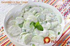 Cucumbers in Sour Cream is a quick, easy, simple & refreshing salad that's made with cucumbers & onions, seasoned with dill weed in a delicious creamy sauce Sour Cream Cucumbers, Creamed Cucumbers, Cucumbers And Onions, Cucumber Recipes, Cucumber Salad, Vegetable Side Dishes, Vegetable Recipes, Healthy Broccoli Salad, Marinated Cucumbers