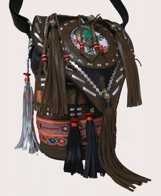 M. moula seau sac - Vintage Banjara Hmong cuir main sac Hobo cabas ethnique Tribal Gypsy
