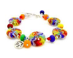 Groovy Rainbow Lampwork Bracelet