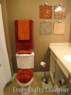 Diy Wall Art Ideas - Native Home Garden Design fall bathroom decor - Bathroom Decoration Diy Home Decor Rustic, Diy Home Decor Easy, Diy Home Decor Projects, Easy Diy, Easy Projects, Dyi, Diy Wand, Orange Bathroom Decor, Bathroom Wall Decor