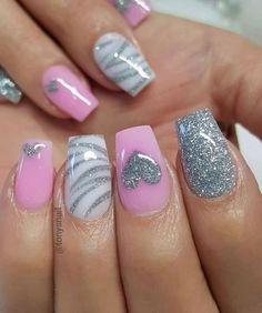 Pink Nail Art, Cute Acrylic Nails, Pink Nails, Cute Nails, Pretty Nails, My Nails, Red Nail, White Nail, Nail Nail