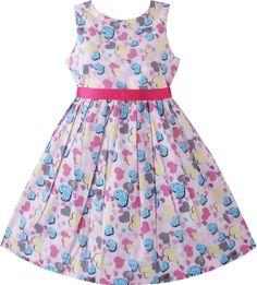 Sunny Fashion Girls Dress Blue Heart Love Birthday Party Sundress 2-10