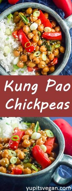 Kung Pao Chickpeas | Yup, it's Vegan. Easy vegan, gluten-free stir-fried chickpeas with veggies, peanuts, and a sweet-spicy sauce.