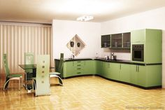 Kitchen of the Day: Curvy green cabinets in a modern style home. Picture in Modern Green Kitchens Kitchen Design Gallery, Best Kitchen Designs, Modern Kitchen Design, Glass Kitchen Cabinet Doors, Green Kitchen Cabinets, Glass Doors, Beautiful Kitchens, Cool Kitchens, Modern Kitchens