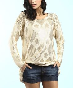 Another great find on #zulily! Gold Foil Sweater by Young Threads #zulilyfinds