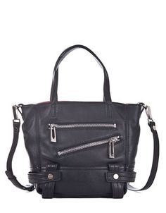 Sanctuary Magazine Leather Little Tote Bag Black