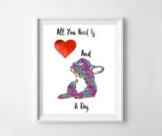 All you need is love a Dog printFrench by NeoArtBook on Etsy