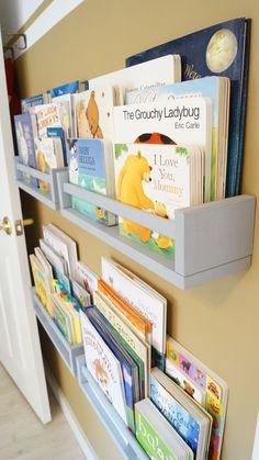 Books shelves - getting nick to make me a bunch of these. Baby Bedroom, Baby Boy Rooms, Girls Bedroom, Montessori Bedroom, Bookshelves Kids, Book Shelves, Toy Rooms, Kids Room Design, Girl Room